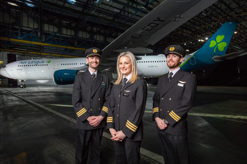 Pictured at the Aer Lingus brand reveal in front of an Airbus A330 freshly painted in the new aircraft livery are from left  First Officer Niall McCauley;First Officer Laura Bennett; First Officer Paul Deegan;Pic:Naoise Culhane